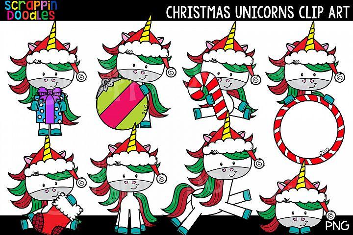 Christmas Unicorn Clip Art - Cute Christmas Unicorns