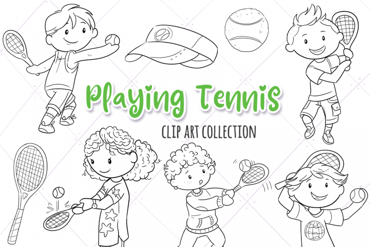 Kids Playing Tennis Digital Stamps