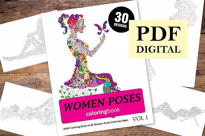 Women Poses Coloring Book - 30 Unique Illustrations
