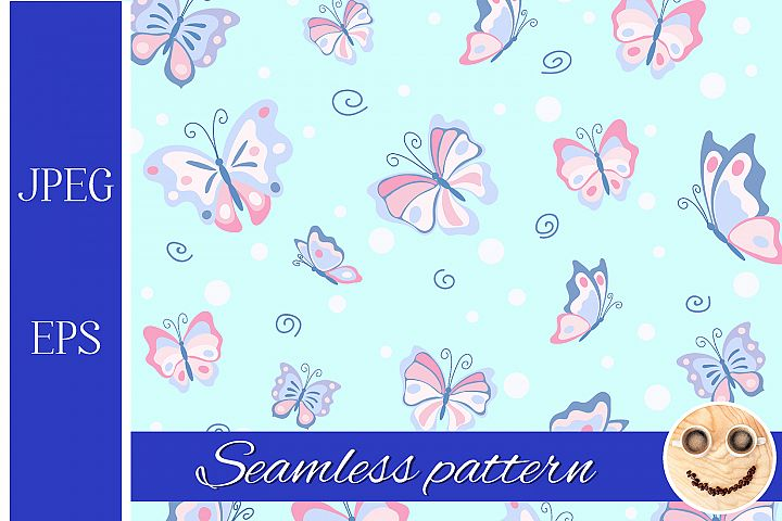 Pink butterfly ion the blue seamless pattern.