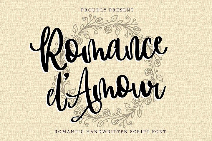 Romance dAmour - Romantic HandWritten Script Font