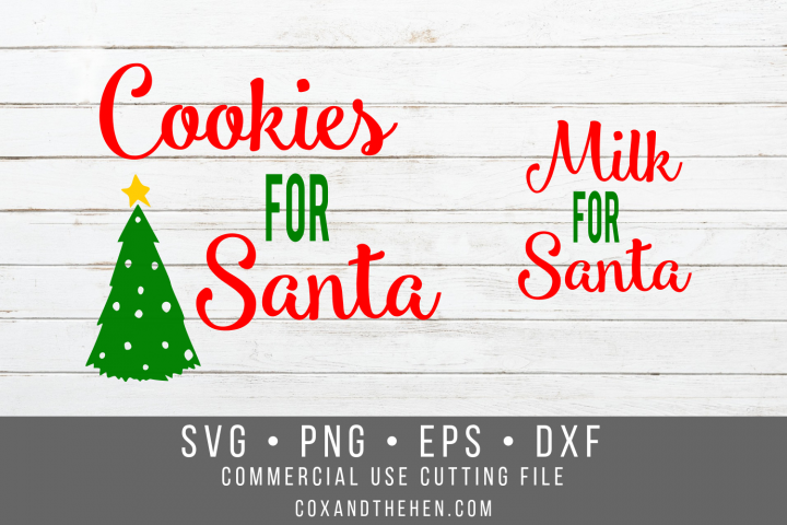 Santa Milk and Cookie SVG Set - Christmas Cutting File