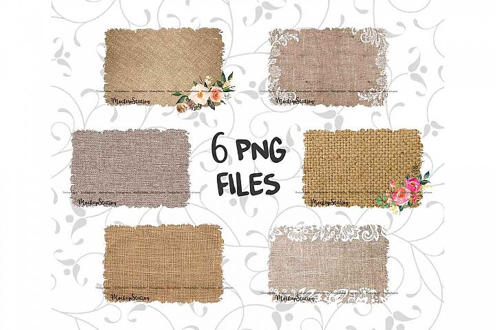 Sublimation Burlap Background PNG Bundle, Frame Clip Art