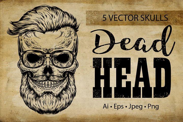 Vintage hipster skull