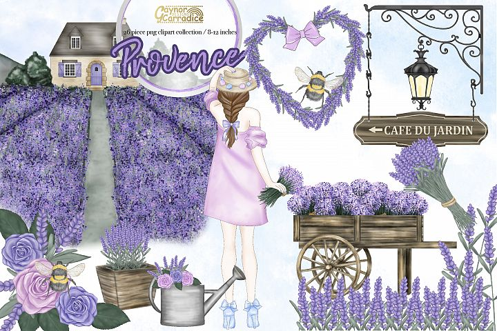 Provence - watercolor lavender Clipart collection