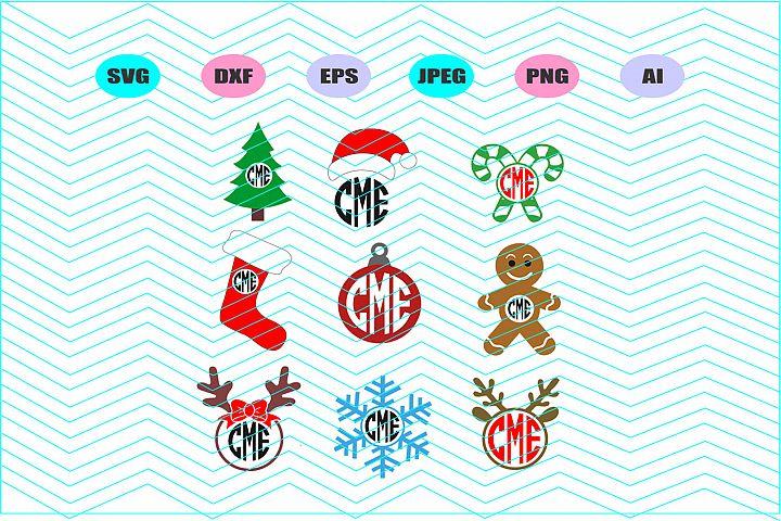 Christmas monogram Vector File Cricut Design Vinyl Decla