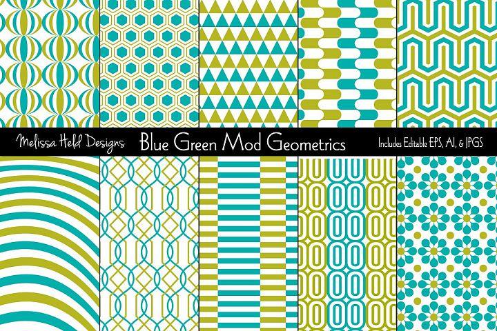 Blue & Green Mod Geometric Patterns