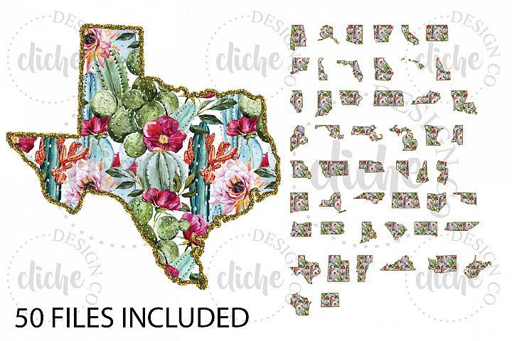 Glitter Floral State Sublimation Design Bundle