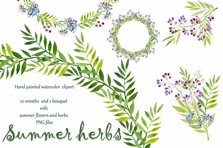 watercolor set wreaths and bouquets with summer flowers