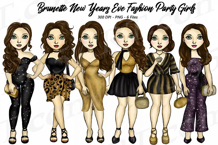 New Years Eve Party Brunette Hair Girls Fashion Clipart