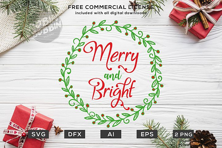 Merry And Bright Christmas Design SVG DXF