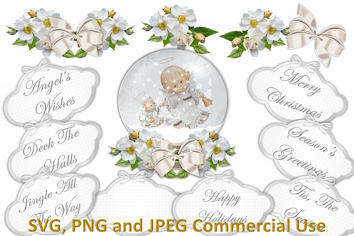 SVG, PNG and JPEG Snow Globe Clipart bundle