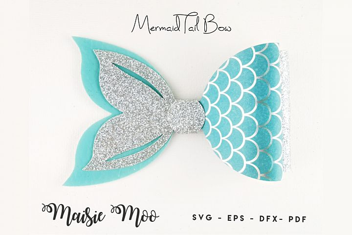 Mermaid Tail Bow Template SVG, Bow SVG, Felt Bow PDF,