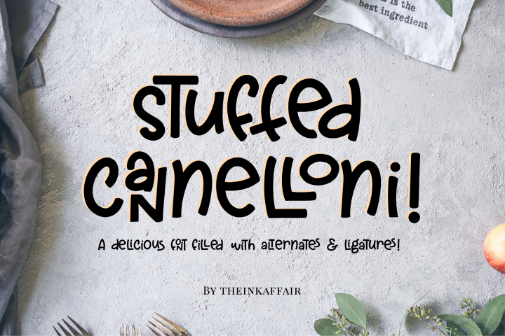 Stuffed Cannelloni - a deliciously fun font!