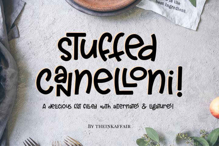 Stuffed Cannelloni - a deliciously fun font!