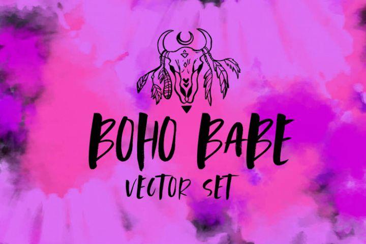 Boho Babe Vector Set