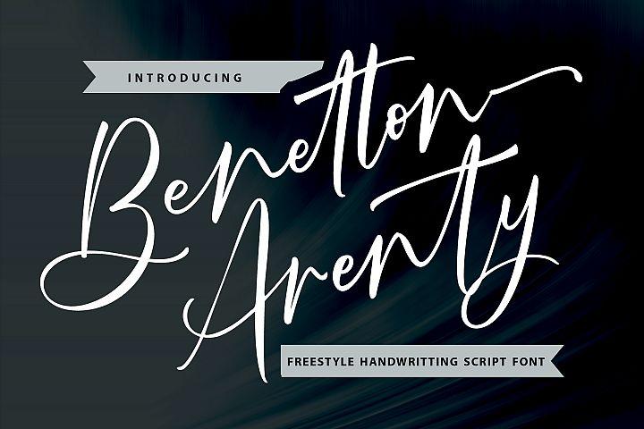 Benetton Arenty | Freestyle Handwritting Script Font