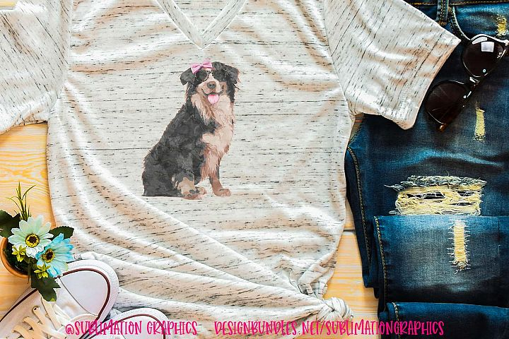 Dog With Bow & Glasses Sublimation Digital Download