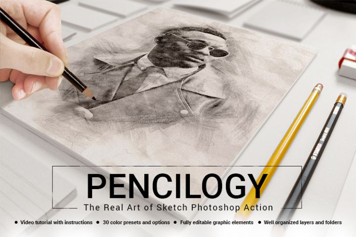 PENCILOGY - The Real Art of Sketch Photoshop Action