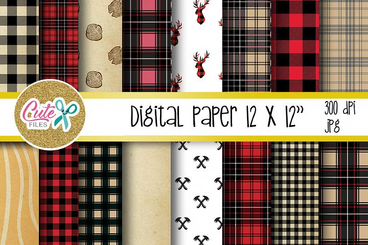 Buffalo plaid pattern, Lumberjack digital paper