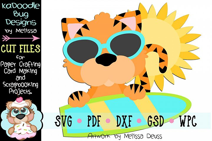 Surfing Tiger Cut File - SVG PDF DXF GSD WPC