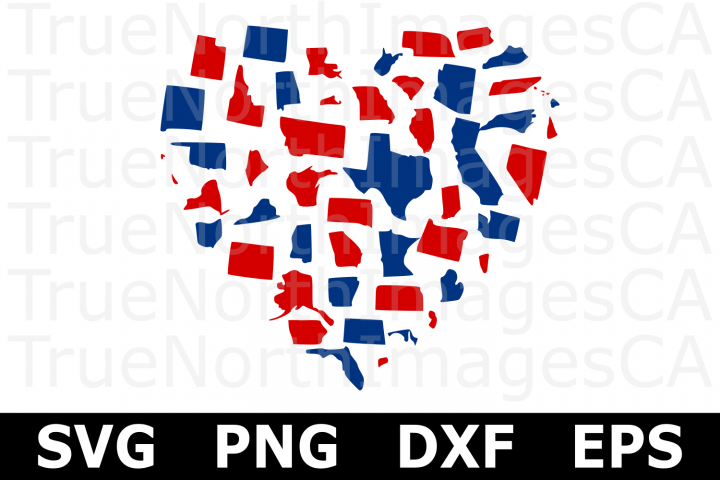 50 State USA Heart - An American SVG Cut File