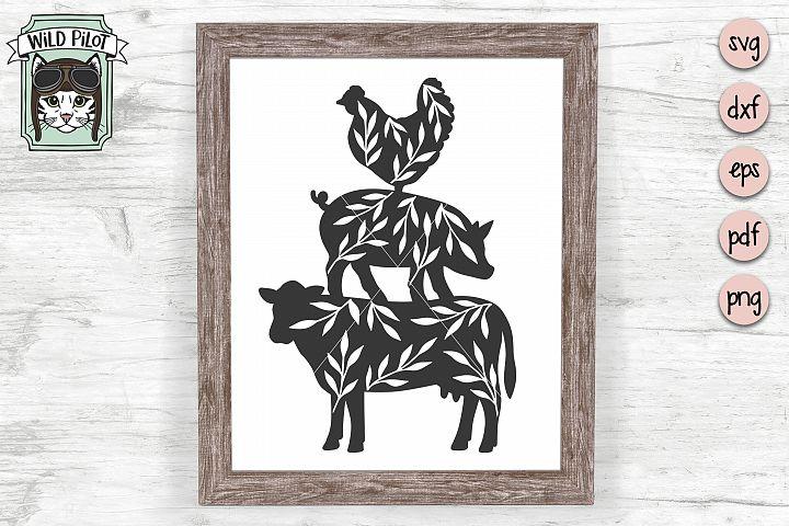 Farm Animal svg, Farm cut file, Pig, Chicken, Cow Silhouette
