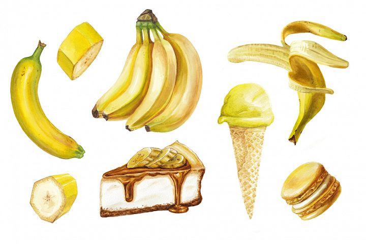 Watercolor banana delicious set