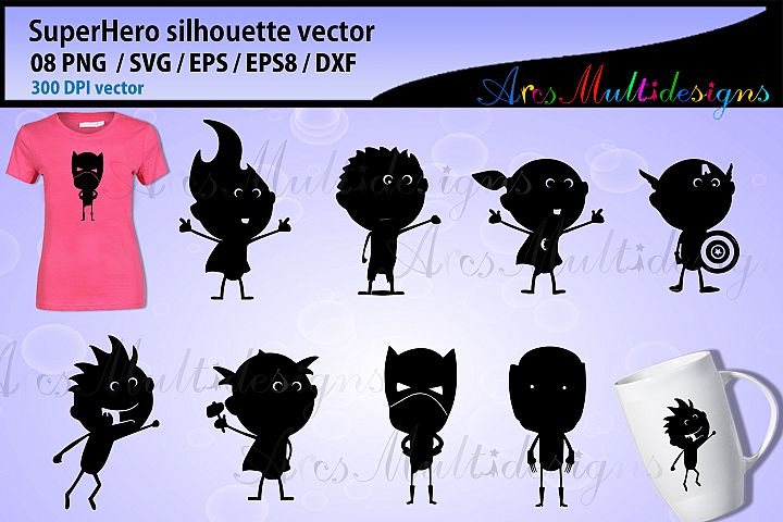 Superhero silhouette vector / Superhero graphics - doodle