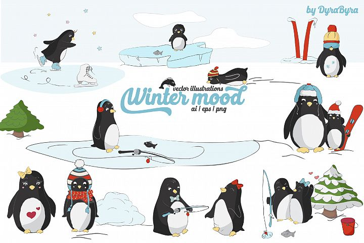 Penguins Vector Illustrations