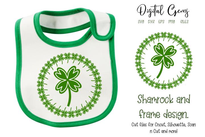 Shamrock and frame, St Patricks day design. DXF / SVG / EPS