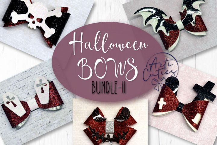 5 Hair bow template SVG, Halloween faux leather bow template