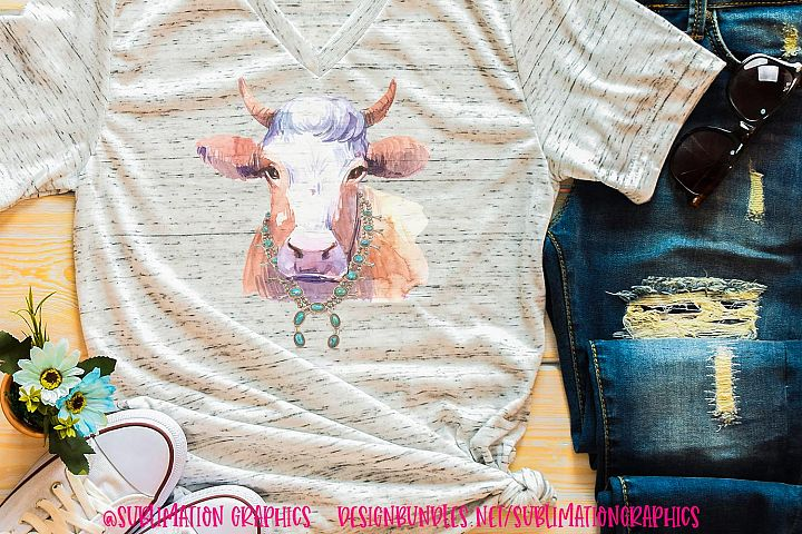 Painted Cow Sublimation Digital Download