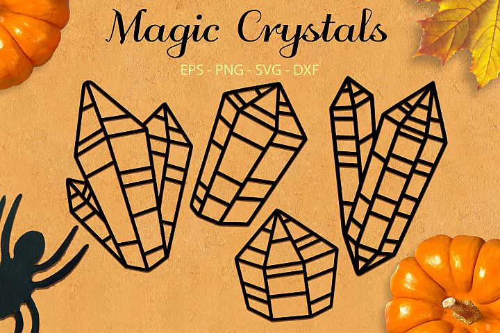 Magic Crystals svg png dxf eps - Halloween Witch Crystal Set