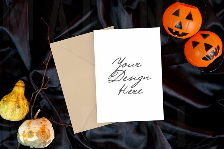 Card mockup 5x7, Invitation mockup, Halloween mockup 1084