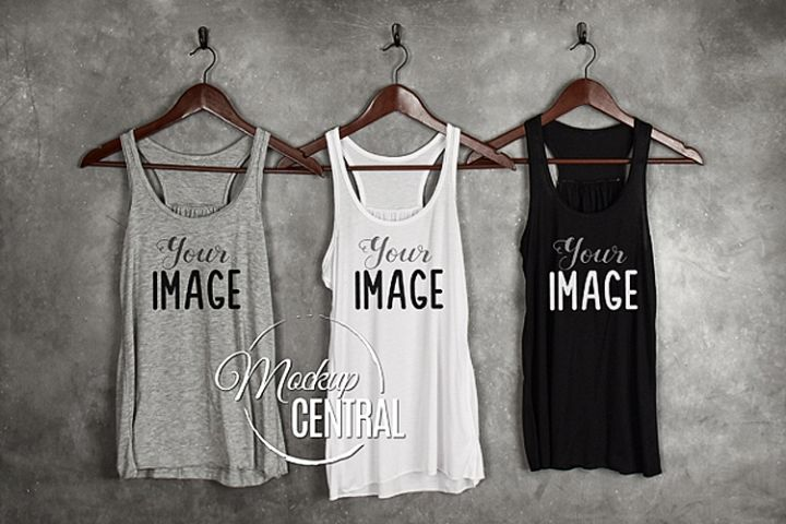 Blank White, Black and Gray Tank Tops Shirt JPG Mock Up