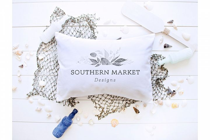 Beach Nautical Pillow Themed Mock Up Styled Photo