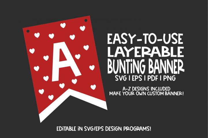 Bunting Banner Template - with heart cut outs