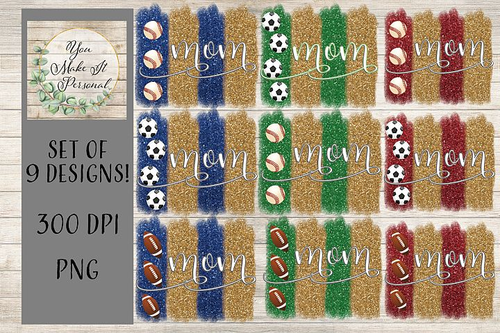 Sports Mom Bundle, Baseball, Soccer, and Football w/Glitter!