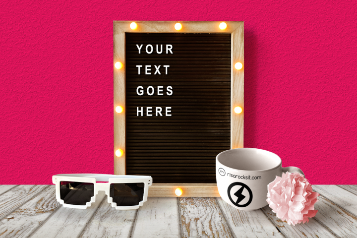 Letter Board and Mug Photoshop Mock Up