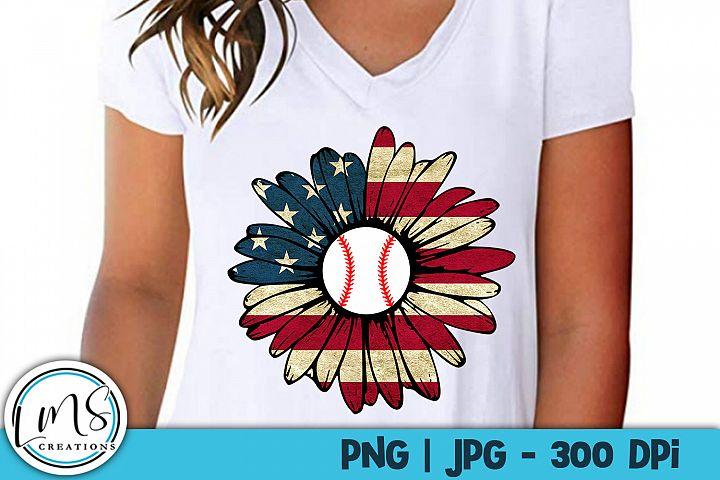 Patriotic Sunflower - Baseball PNG, JPG, Sublimation