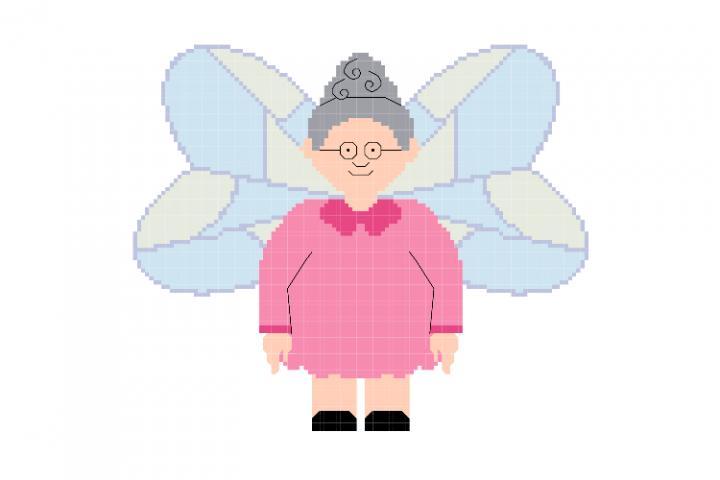 Granny Guardian Angel Cross Stitch Pattern
