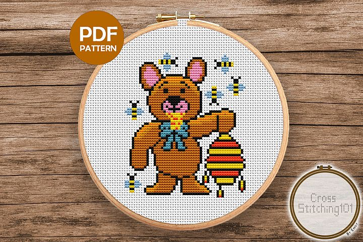 Bear Eating Honey Cross Stitch Pattern -Instant Download PDF