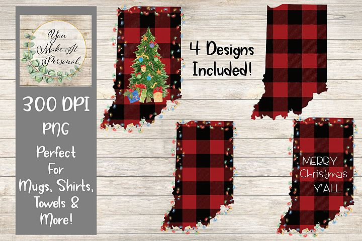 Set of 4 Designs Bundle, Holiday States, Buffalo Check