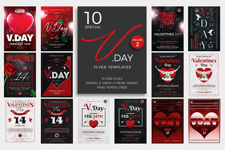 10 Valentines Day Flyer Bundle V2