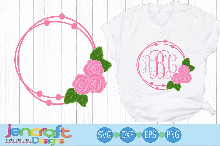 Rose SVG Flower Wreath Frame SVG, Roses Monogram Frame SVG
