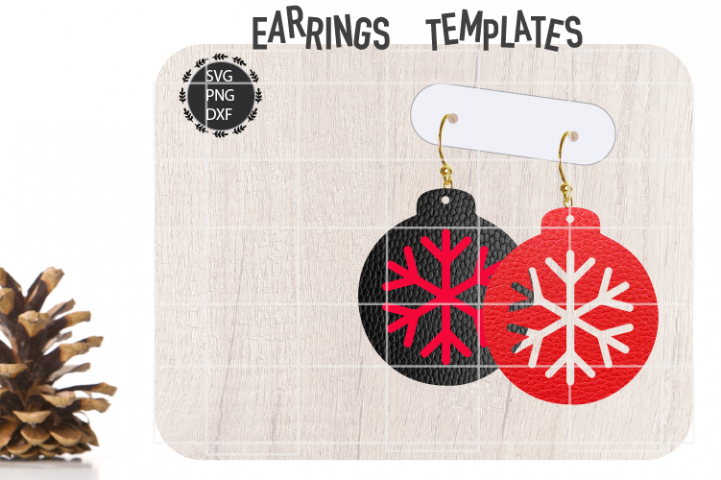 Christmas Snowflake Earrings Svg, Christmas Earrings Svg