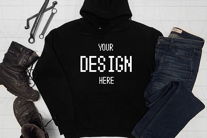 Black Hoodie Shirt Apparel Mockup Hooded Sweatshirt mock-up