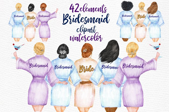 WEDDING ROBES CLIP ART Bridesmaid Clipart