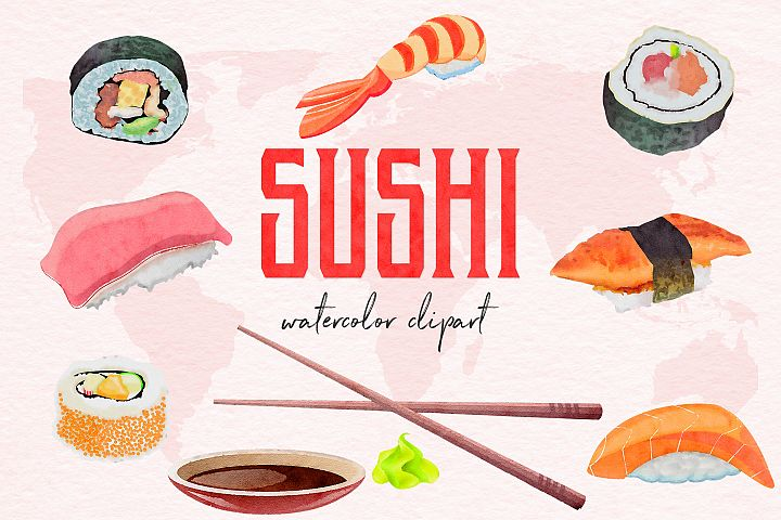 Watercolor Sushi Clipart